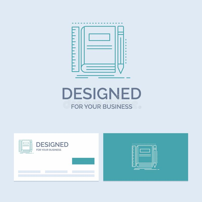 Book, notebook, notepad, pocket, sketching Business Logo Line Icon Symbol for your business. Turquoise Business Cards with Brand. Logo template. Vector EPS10 royalty free illustration