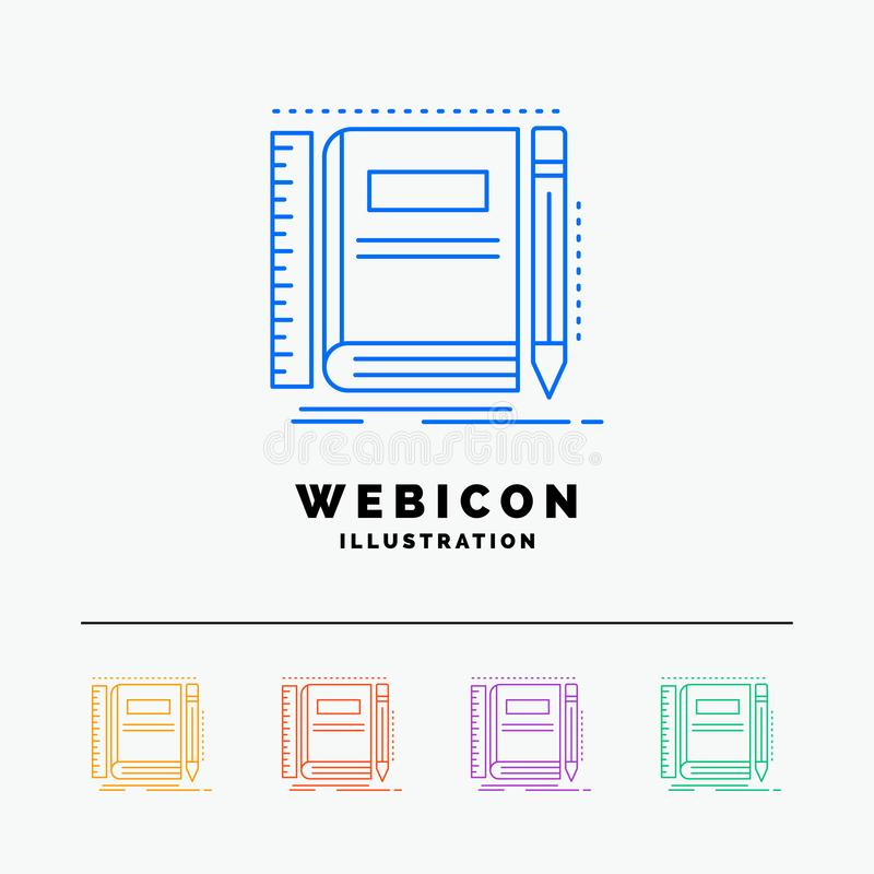Book, notebook, notepad, pocket, sketching 5 Color Line Web Icon Template isolated on white. Vector illustration royalty free illustration