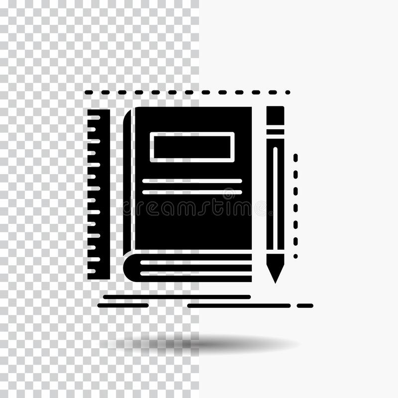 Book, notebook, notepad, pocket, sketching Glyph Icon on Transparent Background. Black Icon royalty free illustration