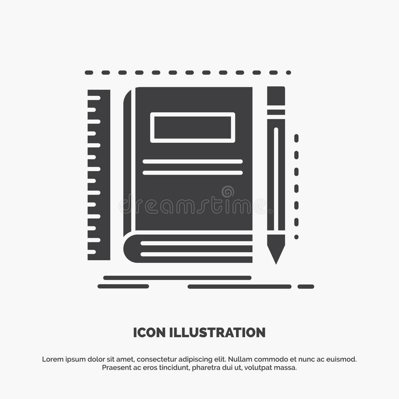 Book, notebook, notepad, pocket, sketching Icon. glyph vector gray symbol for UI and UX, website or mobile application vector illustration