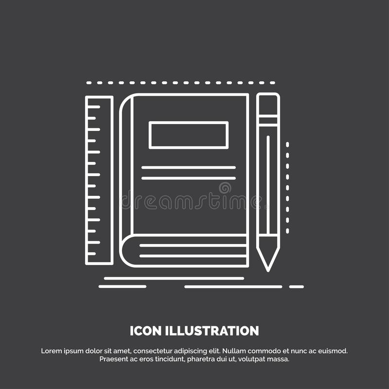Book, notebook, notepad, pocket, sketching Icon. Line vector symbol for UI and UX, website or mobile application. Vector EPS10 Abstract Template background royalty free illustration