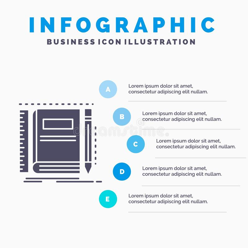 Book, notebook, notepad, pocket, sketching Infographics Template for Website and Presentation. GLyph Gray icon with Blue. Infographic style vector illustration stock illustration