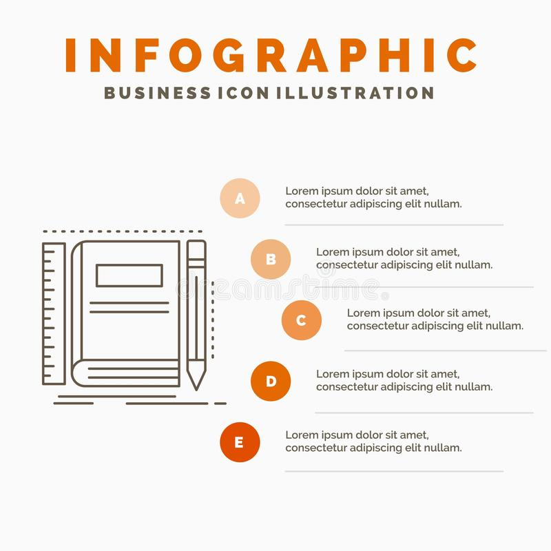 Book, notebook, notepad, pocket, sketching Infographics Template for Website and Presentation. Line Gray icon with Orange. Infographic style vector illustration vector illustration
