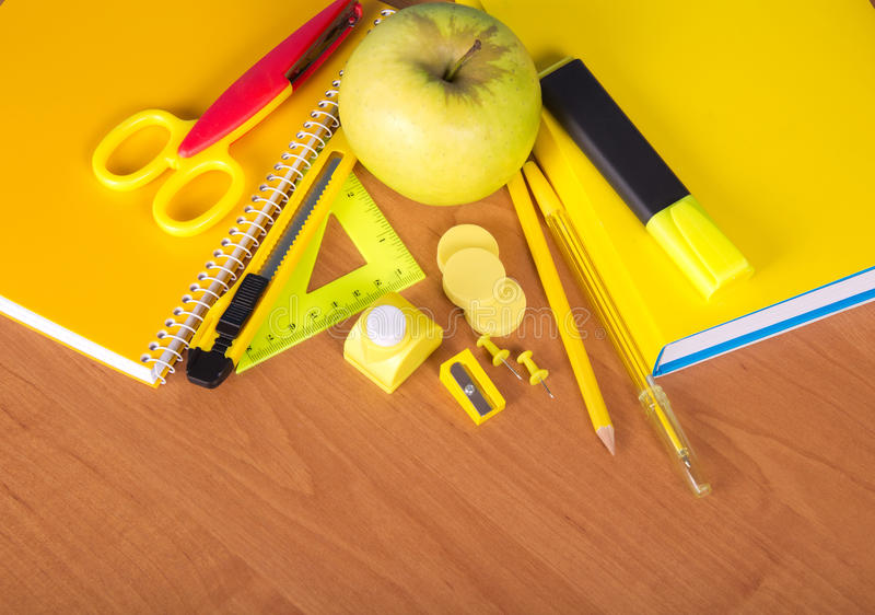 The Book, Notepad, Set Of Office Tools And Apple Stock Photo