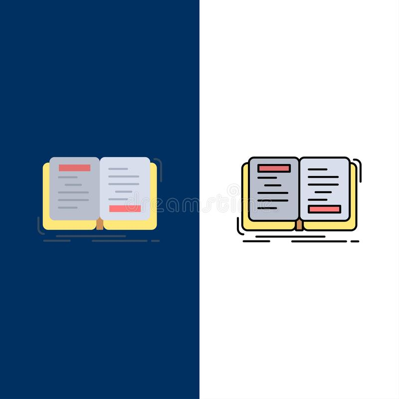 Book, Novel, Story, Writing, Theory  Icons. Flat and Line Filled Icon Set Vector Blue Background vector illustration