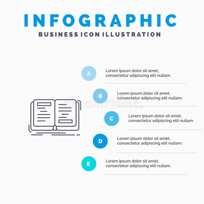Book, Novel, Story, Writing, Theory Line icon with 5 steps presentation infographics Background royalty free illustration