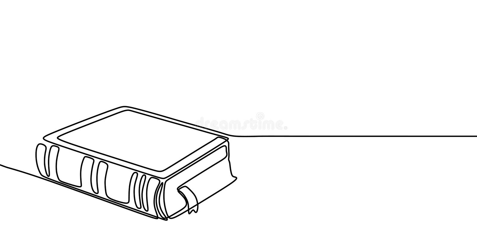 Book one line drawing banner. Continuous hand drawn minimalist minimalism design isolated on white background vector illustration. Symbol, outline, simplicity stock illustration