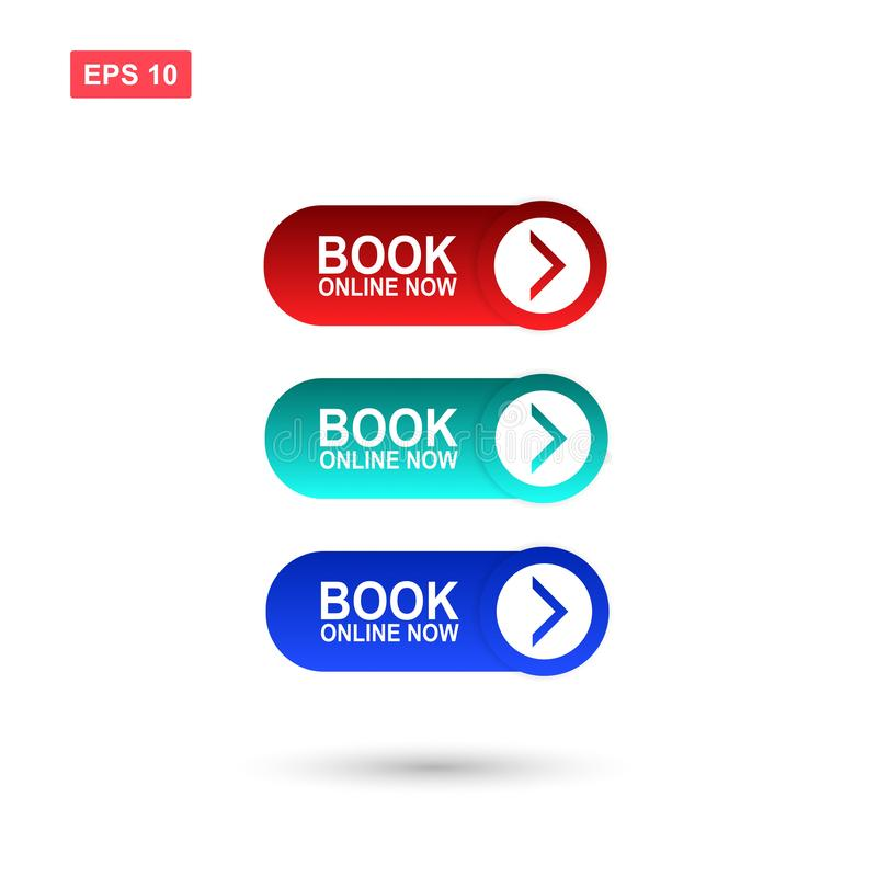 Book online now button vector isolated royalty free illustration