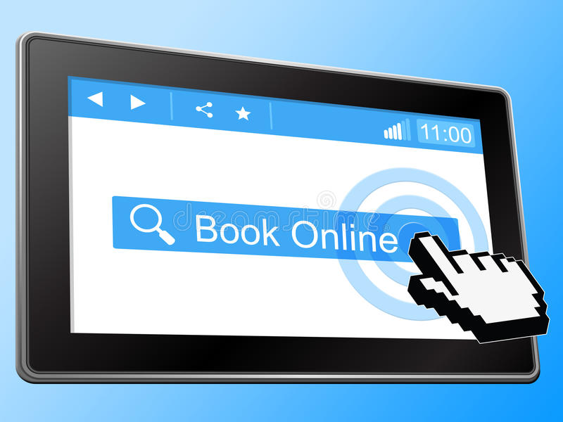 Book Online Represents World Wide Web And Network. Book Online Showing World Wide Web And Websites Reservation stock illustration