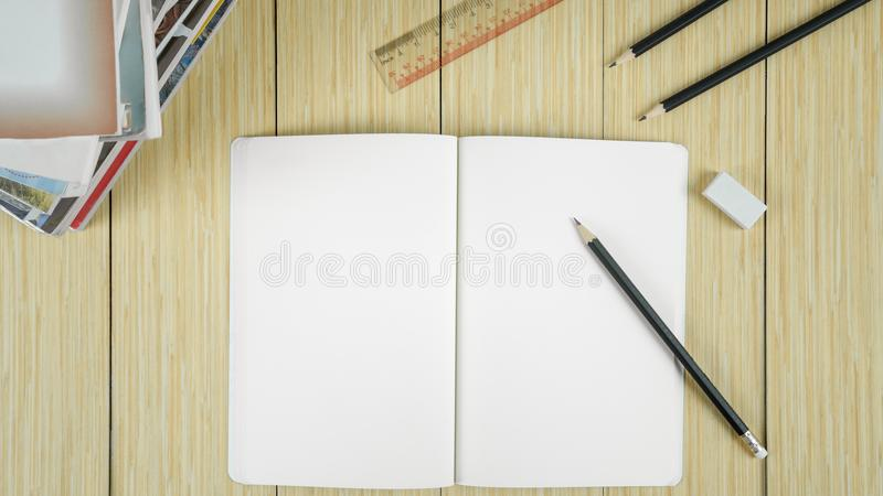 Book open and ready to write a message. stock image