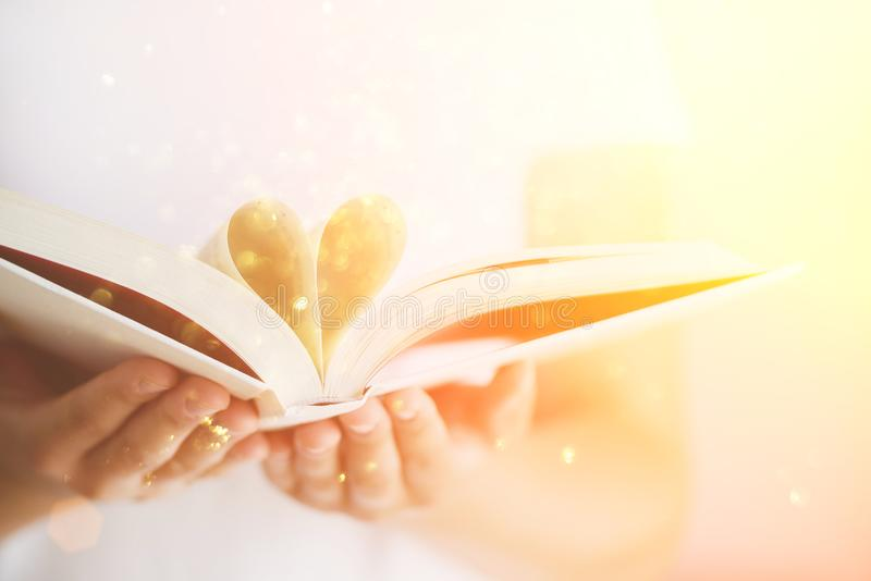 Book with opened pages and shape of heart in girl hands. Copy space. Love concept. Festive background with bokeh and stock photos