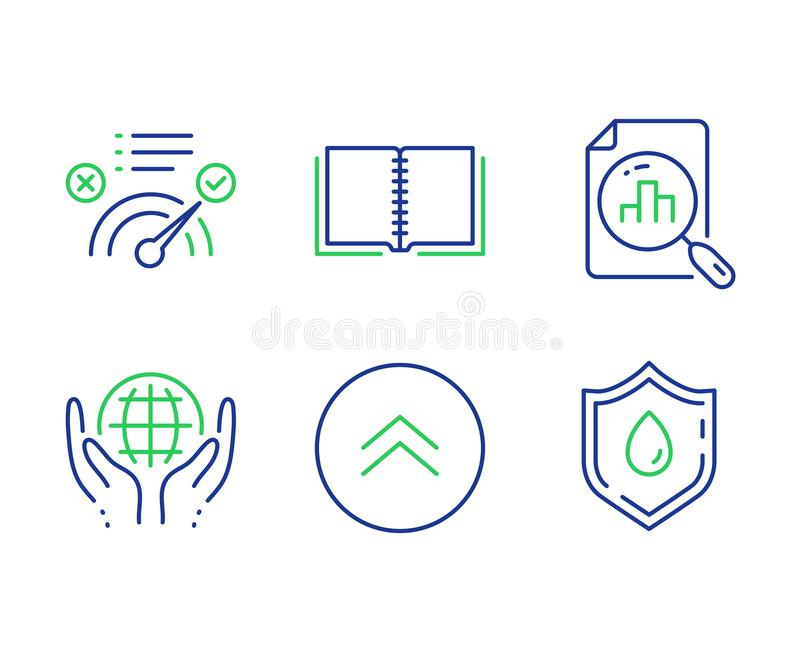 Book, Organic tested and Correct answer icons set. Analytics graph, Swipe up and Blood donation signs. Vector. Book, Organic tested and Correct answer line icons stock illustration