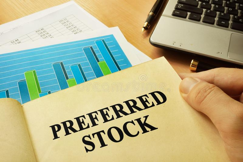 Book about preferred stock. Trading concept. Book with page about preferred stock. Trading concept royalty free stock photography