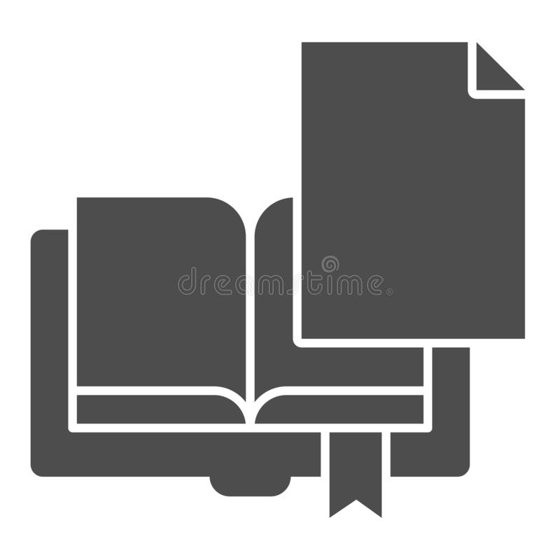 Book page solid icon. Sheet with book vector illustration isolated on white. Paper glyph style design, designed for web. And app. Eps 10 vector illustration