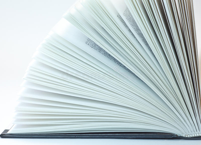Book pages. Open book, book pages, black cover, white background royalty free stock images