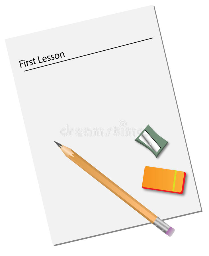 Book and pen with eraser and sharpener royalty free stock images