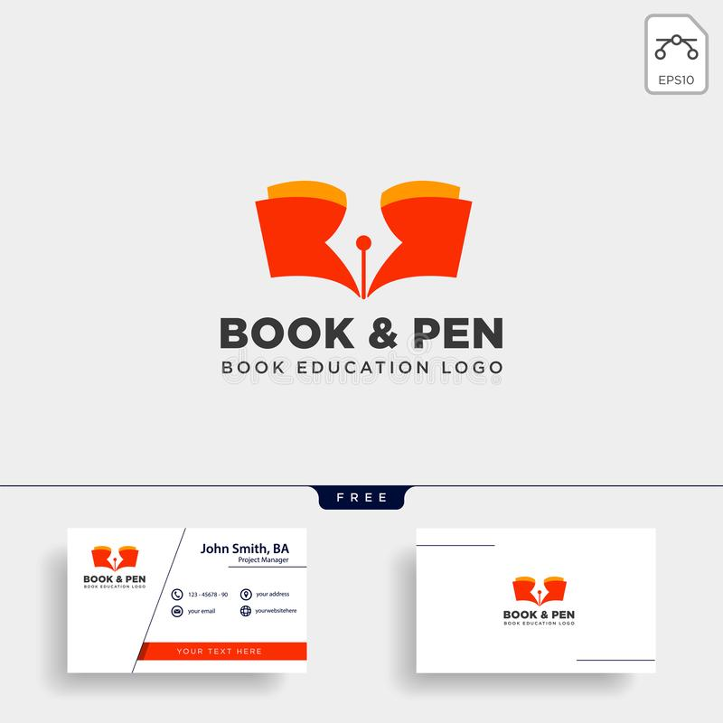 Book pen or writer simple logo template vector illustration icon element. Vector file vector illustration