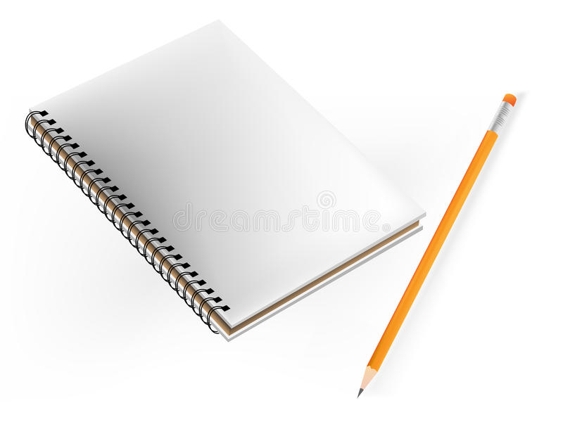 Book and pencil. White paper vector illustration