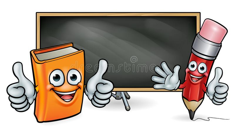 Book and Pencil Mascots and Blackboard. Book and pencil cartoon character education mascots giving thumbs up in front of a school blackboard sign stock illustration