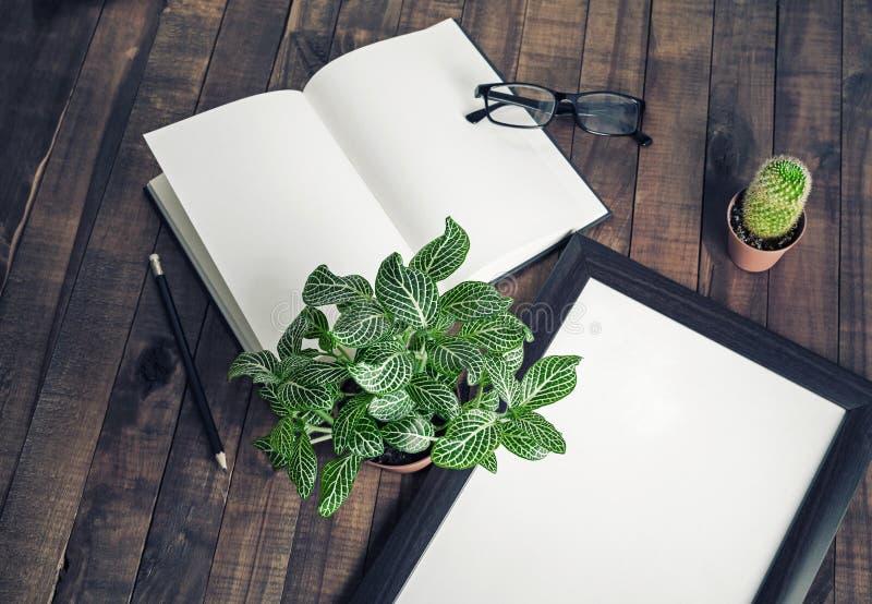 Book, photo frame, plants stock photo
