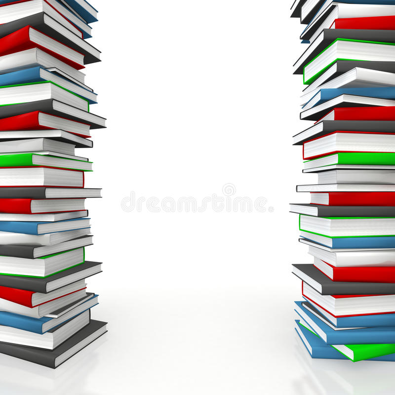 Book piles as frame royalty free illustration