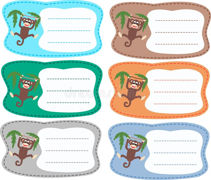 Book plates. Six book plates with a happy monkey vector illustration