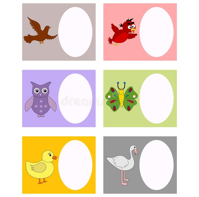 Book plates. In different birds and animals which can be used as celebration and invitation cards. Visit: https://graphixandcode.com royalty free illustration
