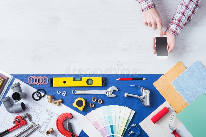Book a plumber online stock photos