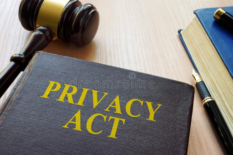 Book Privacy Act and gavel royalty free stock photo