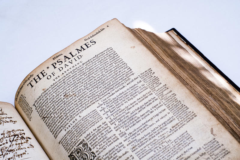 The book of Psalmes in Old English stock photography