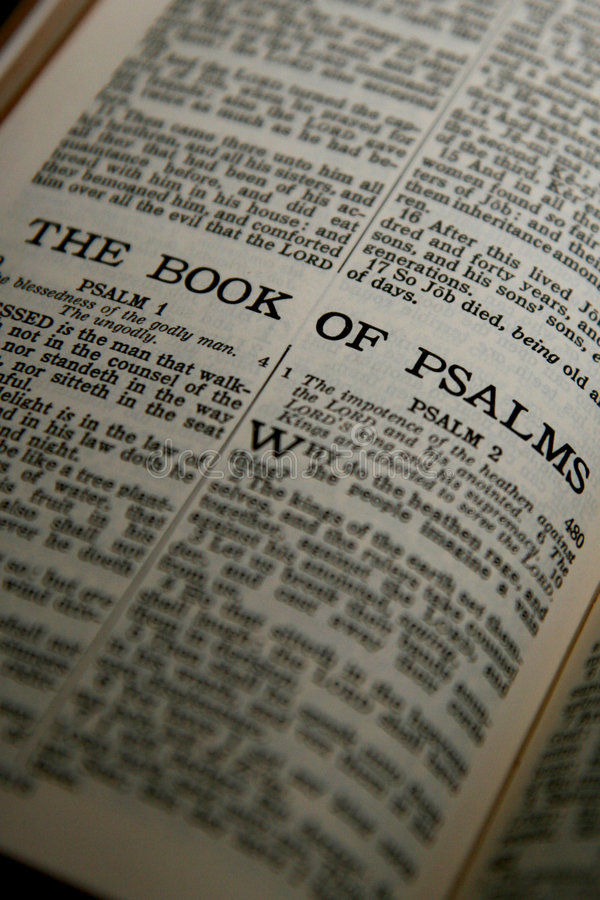 The Book of Psalms. Photo of the opening page of Psalms from the Bible royalty free stock photography