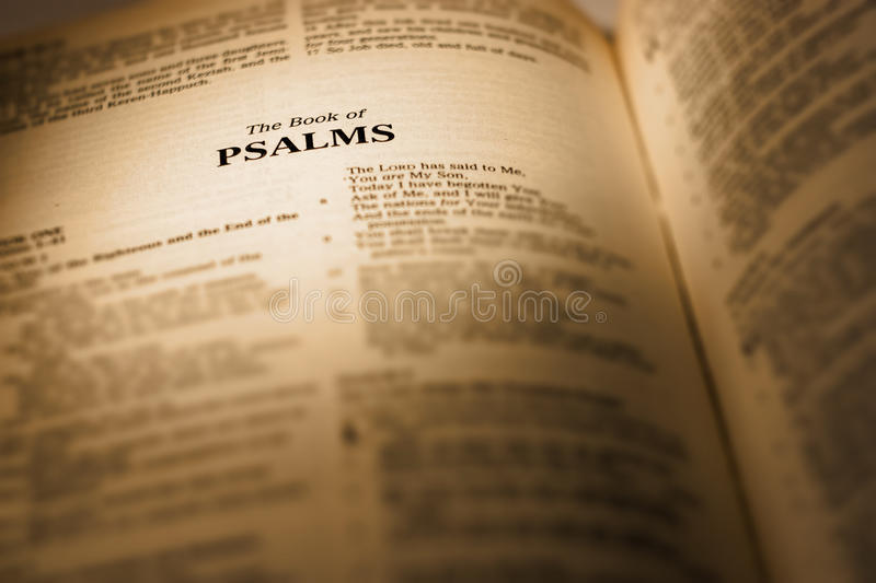 The Book of Psalms. Psalms bible religion book open testaments old religious pages concepts verses christianity ideas god people text spirituality readings stock image