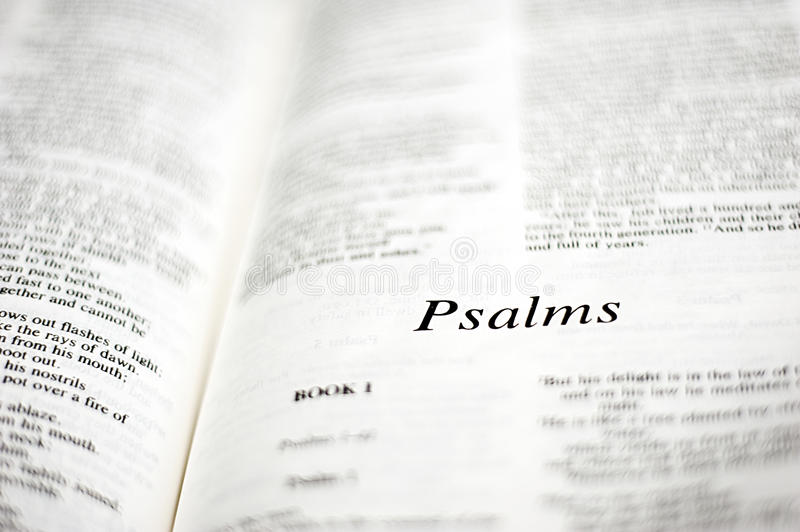 Book of Psalms. One of the 66 books in the Bible, book of poetry stock image