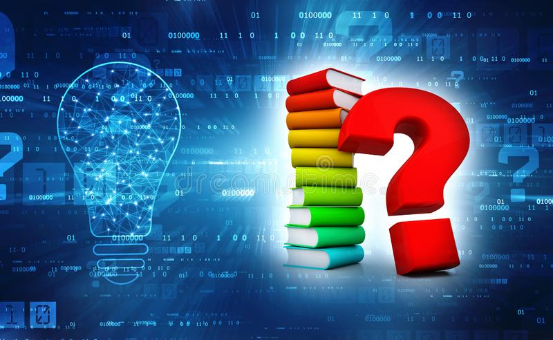 Book with Question mark in digital background. 3d render. 3d rendering Books with Question mark Symbol in technology background stock photos