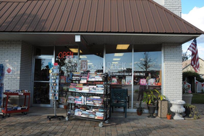 BOOK RACK STORE AND XMAS SANTA. OCOEE/ORLANDO / FLORIDA / USA - 01 December 2017. _Book rack store and christmas season in american village. Photo.Francis Dean/ royalty free stock photo
