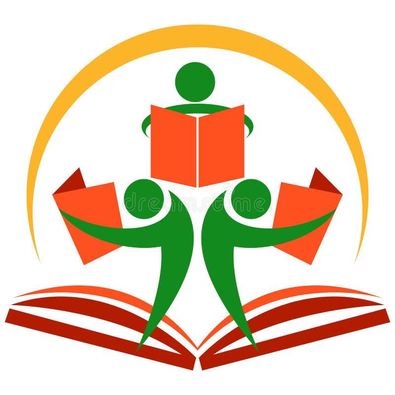 Education students logo. Vector illustration of students reading books - one white background vector illustration