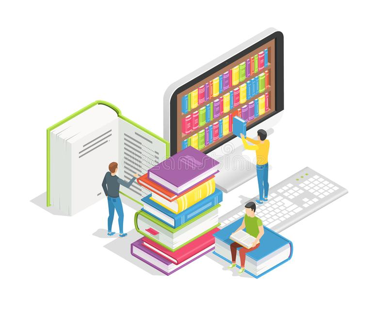 Book reading concept. Small people with huge books. Education online training courses distance learning tutorials and royalty free illustration
