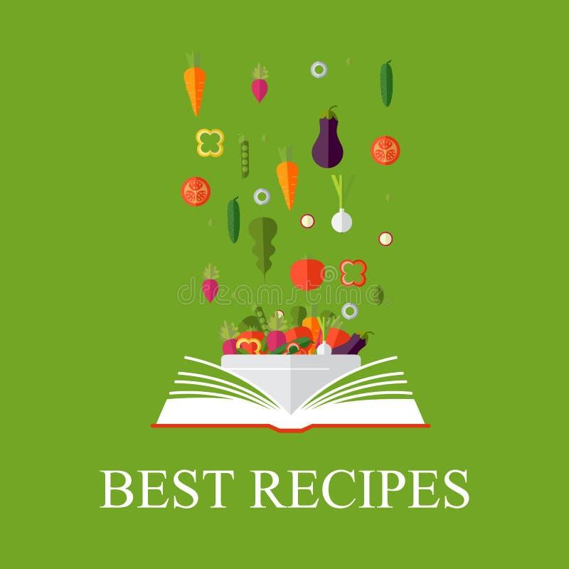 Book of recipes, cookbook, best recipes. Vegetarian, healthy eat. Vegetarian, healthy eating concept. Vector concept illustration. Book of recipes, cookbook stock illustration