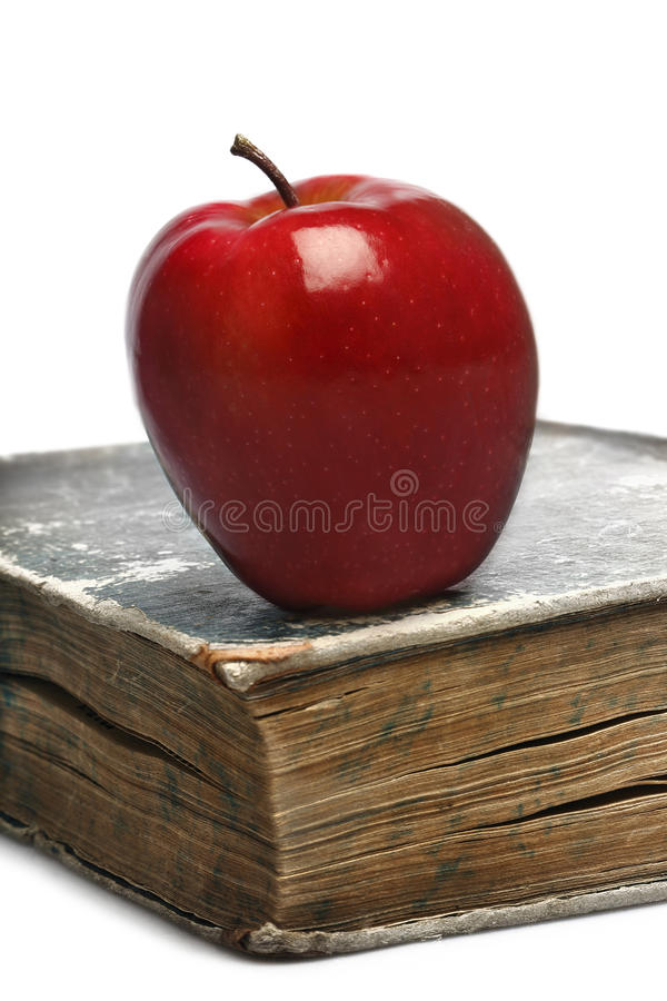 Book & red apple royalty free stock photos