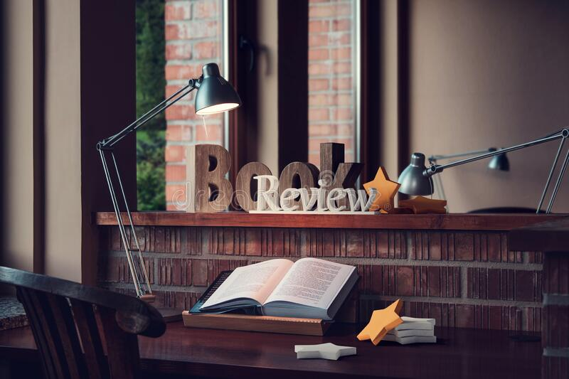 Book review, reader desk and rating stars royalty free stock photos