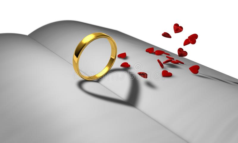 In the book the ring of the heart. 3d illustration vector illustration