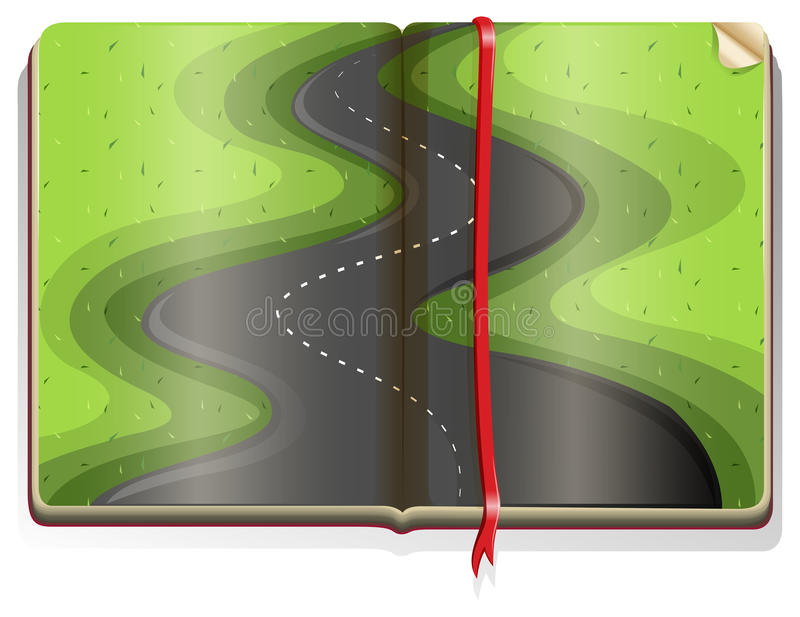 Book with road scene vector illustration