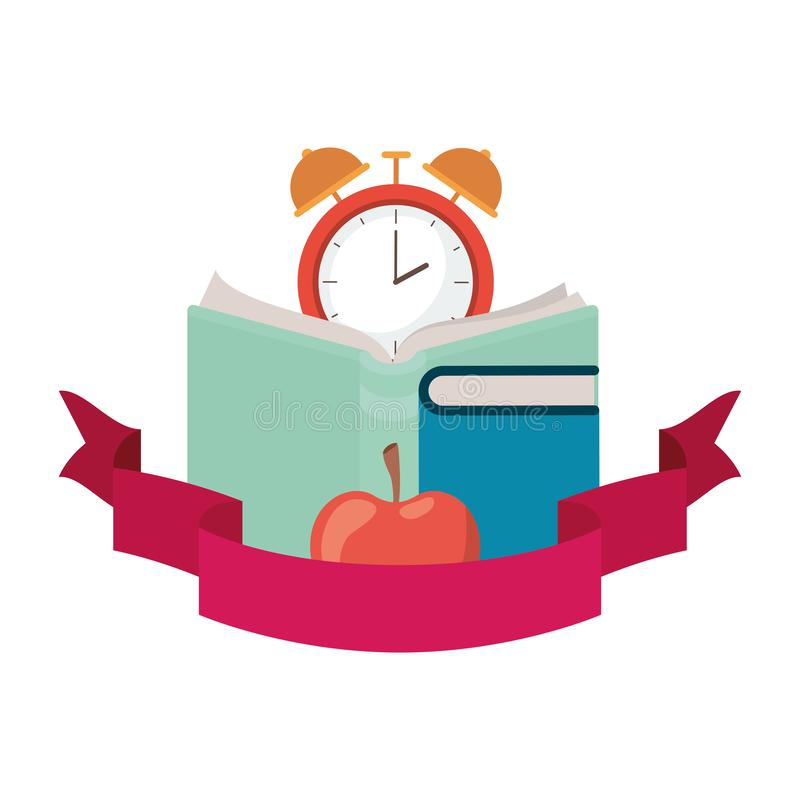 Book of school with alarm clock and ribbon royalty free illustration