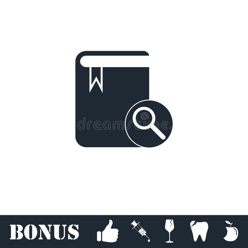 Book search icon flat vector illustration