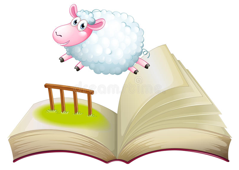 A book with a sheep jumping vector illustration