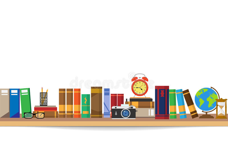 Book shelf. Bookstore indoor. Bookshelves with different books set. royalty free illustration