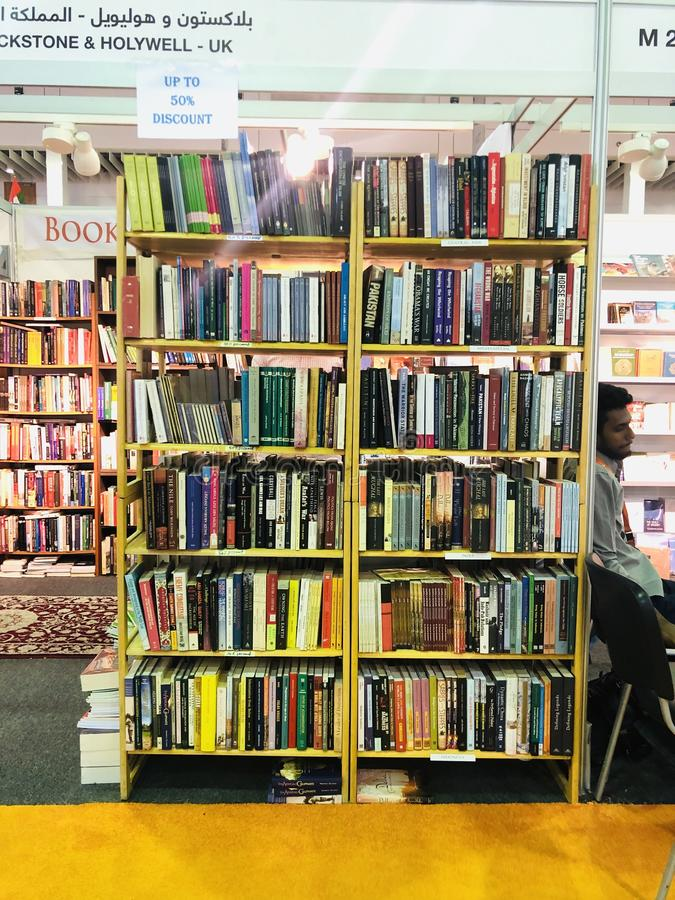 Display of books at Sharjah International Book Fair royalty free stock images