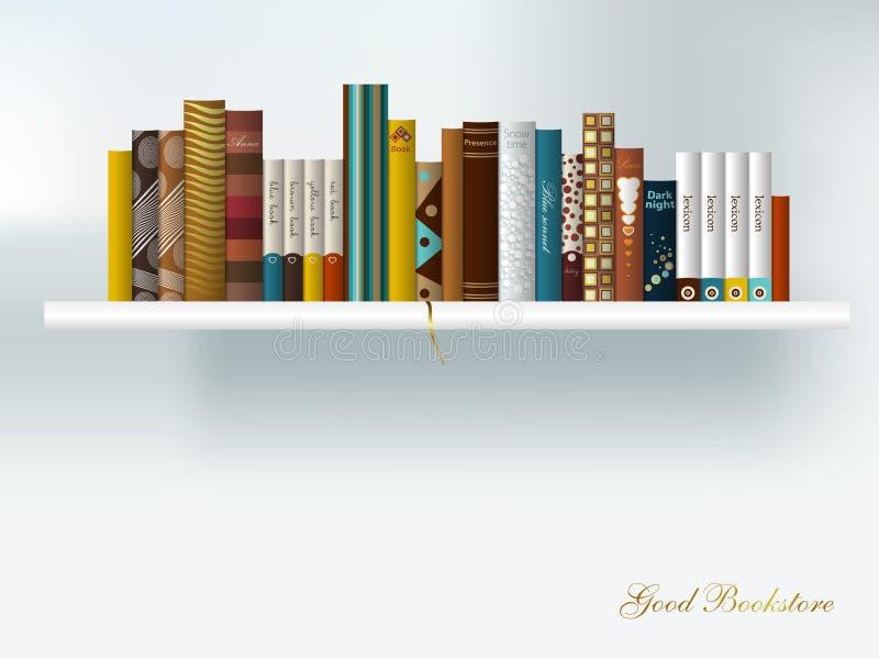 Book shelf interior. vector illustration
