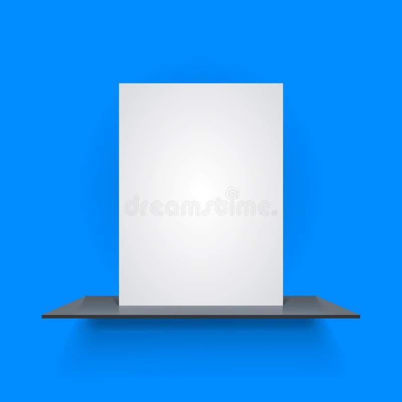 Book shelf on light blue background. Vector illustration stock illustration