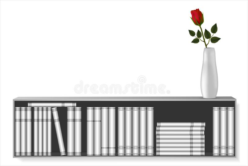 Book shelf mockup with different design book templates and mockup of vase with red color rose. royalty free illustration